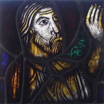 修道院のステンドグラス修復 キリストの顔