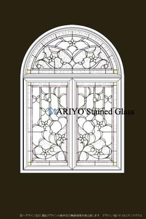 白い花のステンドグラスデザイン画