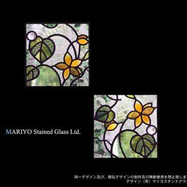 正方形のステンドグラス 小さなステンドパネル 花のデザイン