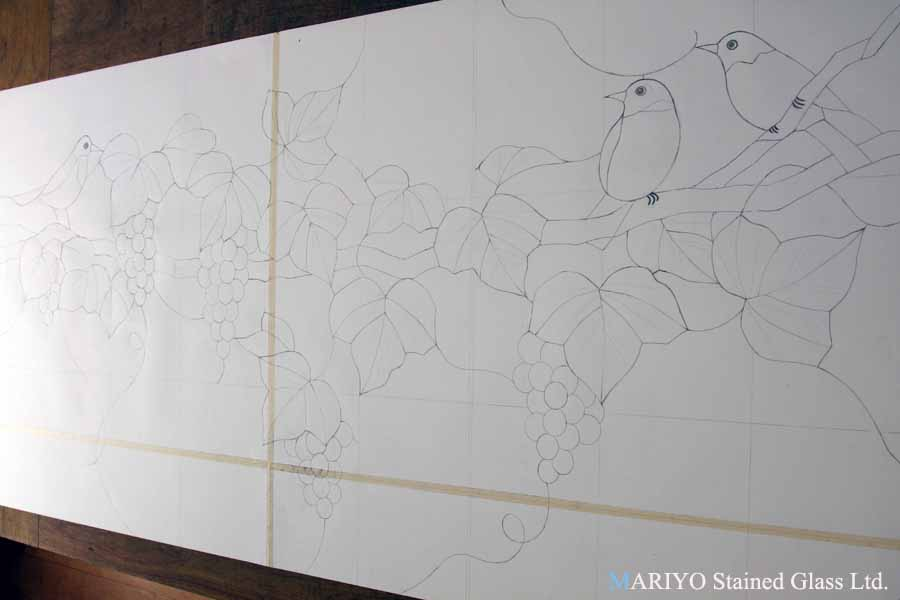 ステンドグラス 型紙 葡萄と鳥 鶴見