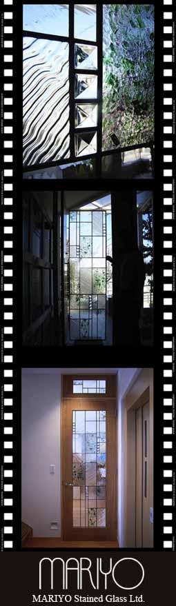 ステンドグラスドアとランマ 緑色のガラス