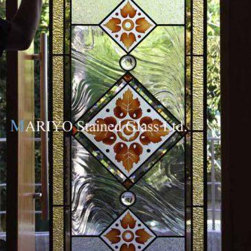 ステンドグラス オーダーパネル 花と葉 秋の図案