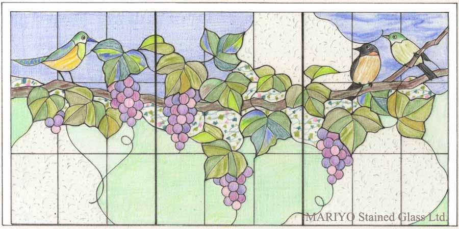 ステンドグラスデザイン葡萄と鳥 鶴見