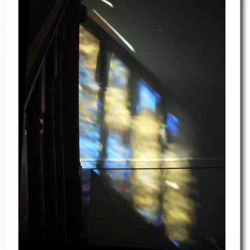ステンドグラスからこぼれる 光と影 鳩のデザイン