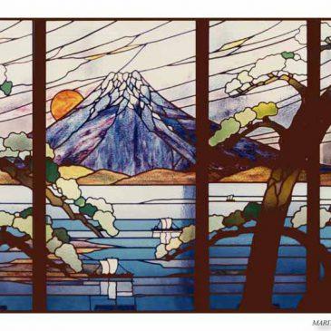 古い日本のステンドグラス 富士山  松