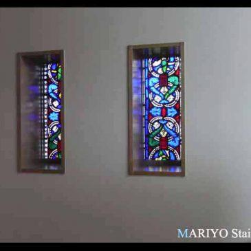 修道院 ステンドグラス修復移設工事 絵付けのステンドグラス