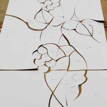 ステンドグラス 型紙 原寸サイズの下絵(図案 デザイン)カルトン