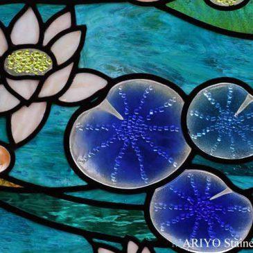 平城遷都祭 ステンドグラス 睡蓮のステンドグラス作品完成
