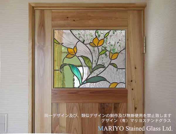 花のステンドグラスドア