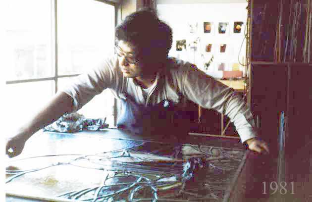 ステンドグラス制作風景1981