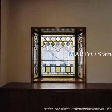 出窓のステンドグラス | 目隠し