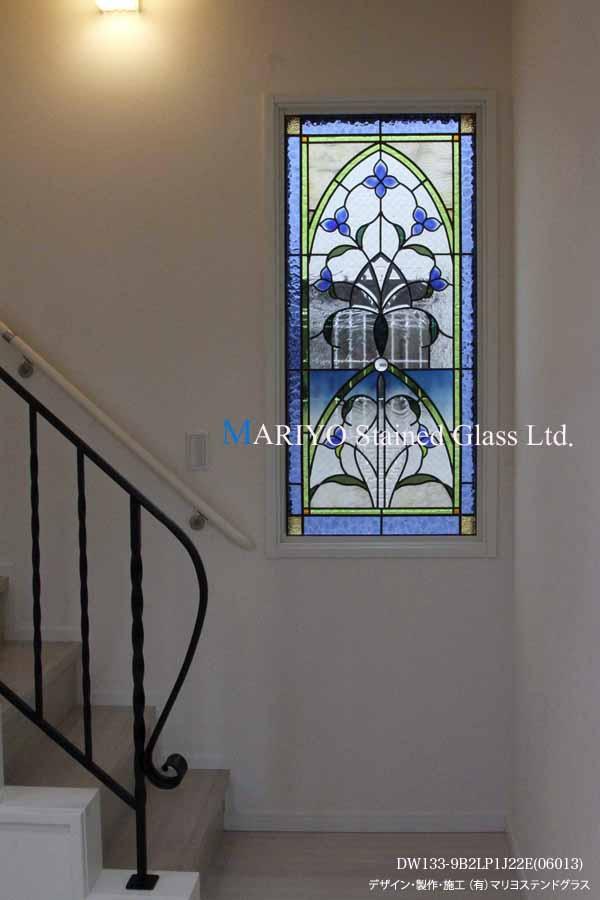 新築ステンドグラス 青い花装飾