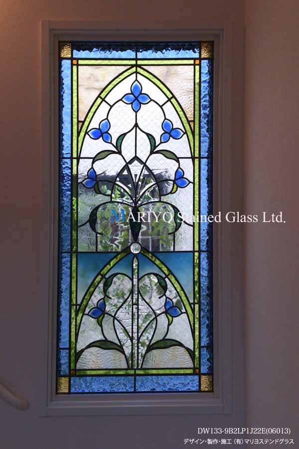 青い花のステンドパネル画像1
