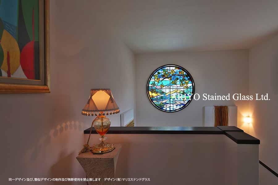 海の風景のステンドグラス丸窓(熱海)