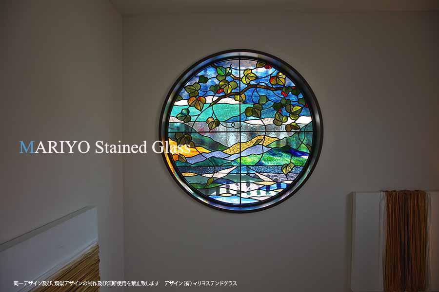 海の風景のステンドグラス丸窓(熱海)施工後