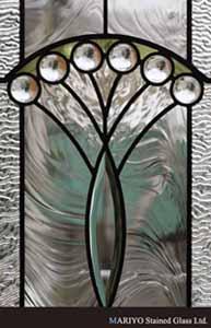 アールデコスタイルのステンドグラス 孔雀の羽