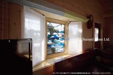 ステンドグラス デザイン 海取付後画像