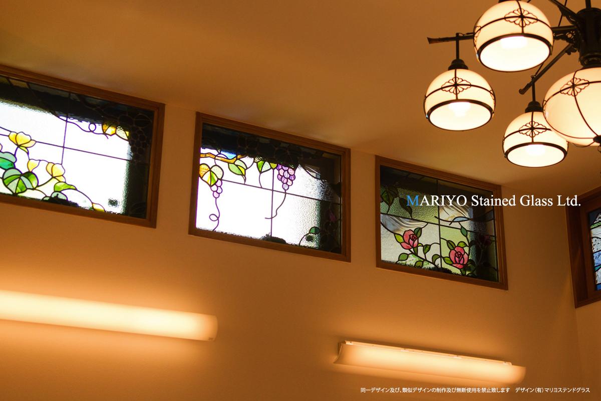福島県 ステンドグラス 黄花 葡萄 薔薇