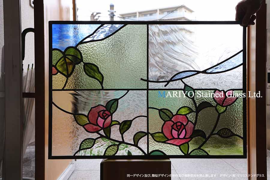 福島県 ステンドグラス D81-8E 薔薇