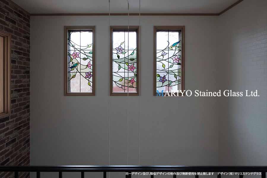 ステンドグラス 鳥と花 吹抜窓D81-14E
