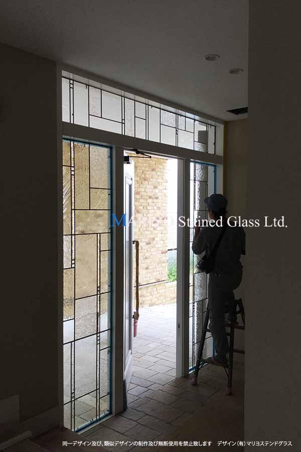 東京世田谷K-House ステンドグラス 施工時画像