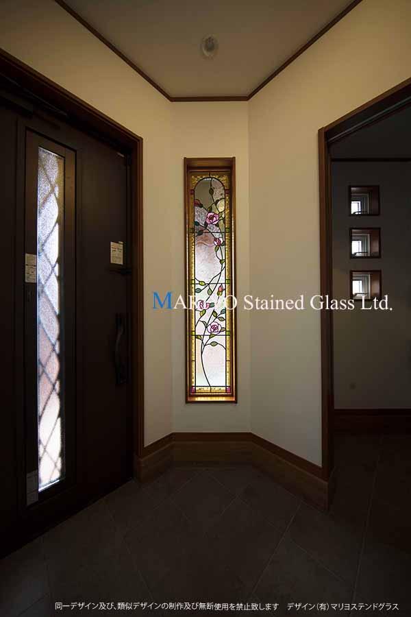 玄関ステンドグラス バラ図案 D130-9E