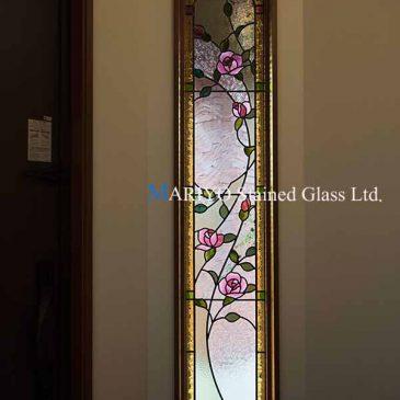 玄関 ステンドグラス バラ図案 千葉県