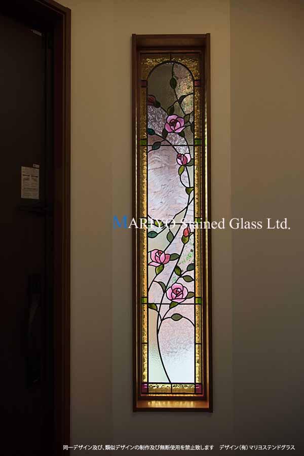 玄関ステンドグラスバラ図案 D130-9E ブログ