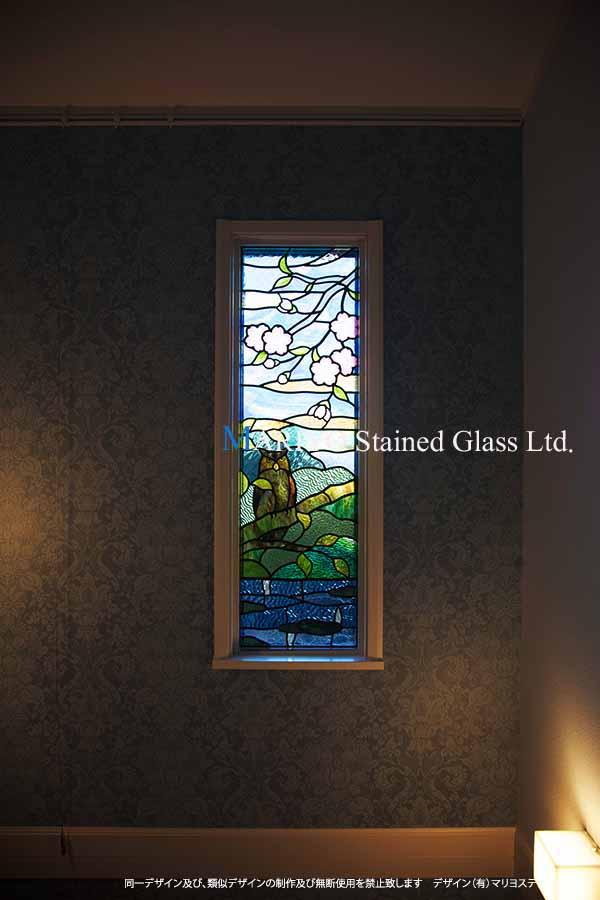 ステンドグラス 桜とフクロウ D116-8E画像