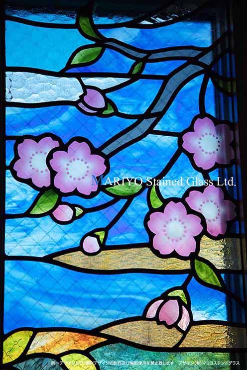 ステンドグラス 桜 D116-8E 部分画像
