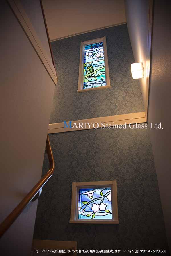ステンドグラス 桜とフクロウ D116-8E 階段