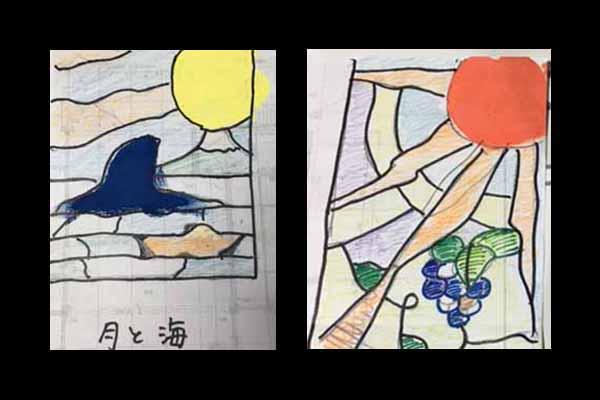 月とえぼし岩 太陽とブドウ イメージ画