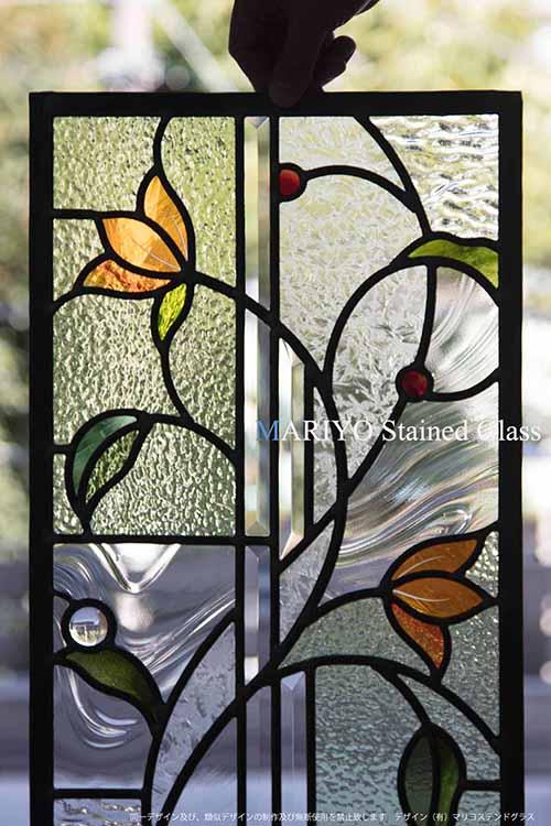 オレンジの花のステンドグラス C52-5LP1J4E 工房部分画像(札幌市)
