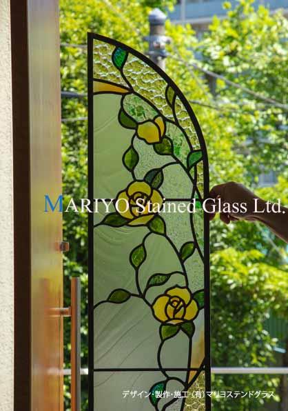 黄色いバラのステンドグラス 大阪 工房画像